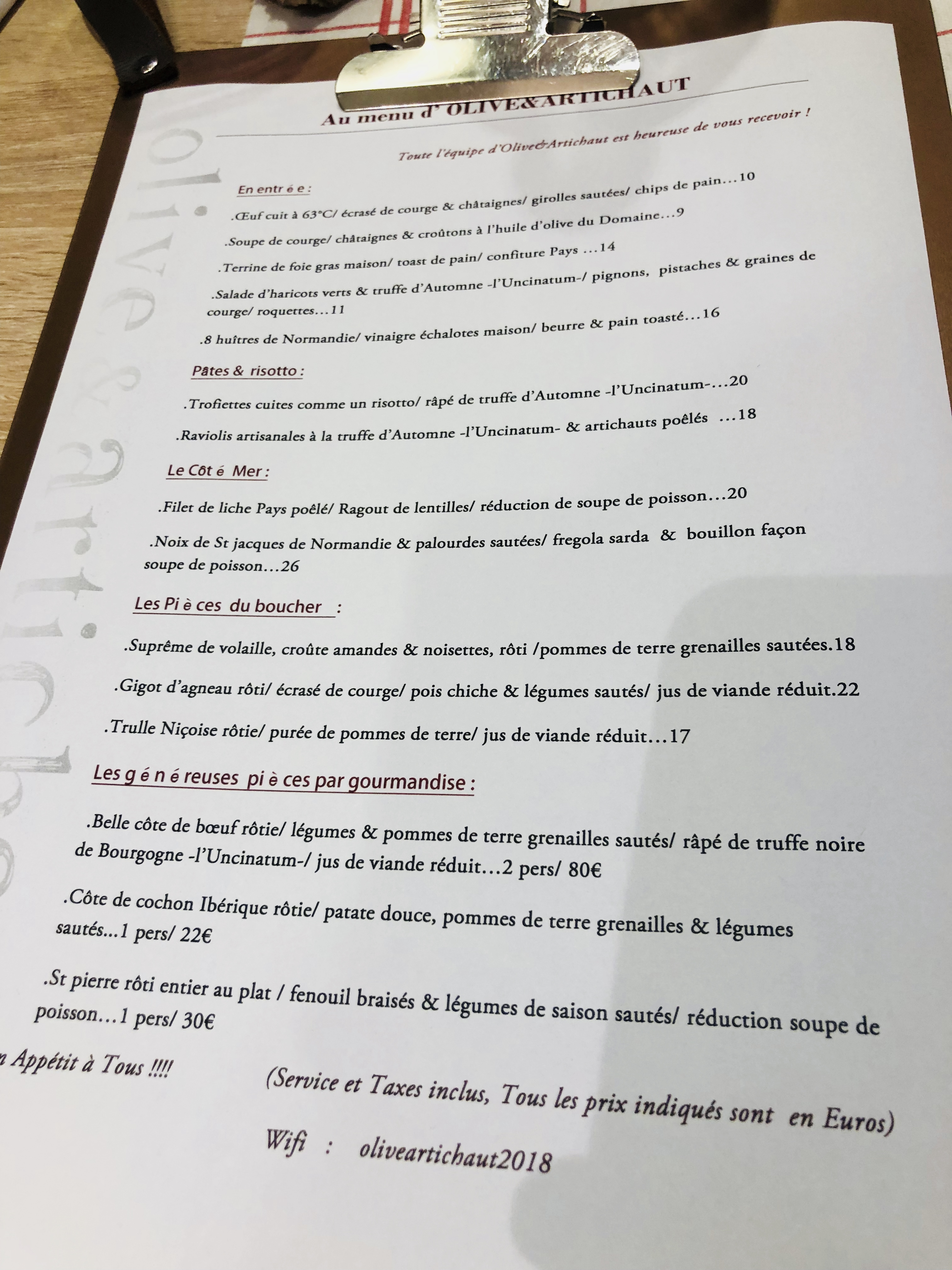 Restaurant Nice Olive et Artichaut Carte